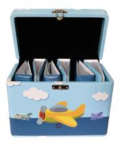 Maleta Avião para 600 fotos 10x15 - 6 álbuns - Aviões Bebê Infantil - Pirlim Foto
