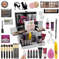 Maleta com maquiagem completa  Profissional  e Kit Pinceis  BZ85 - Bazar Na Web