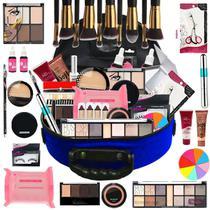 Maleta Com Maquiagem Completa Profissional + Pinceis Bz85-2 - Bazar Na Web
