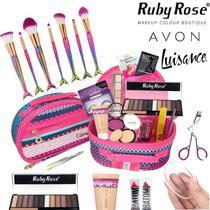 Maleta De Maquiagem Completa Avon Ruby Rose Pincel Sereia - Bazarnaweb