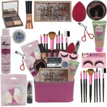 Maleta De Maquiagem Completa Base Dalla Vegana  Kit Pinceis - Glow Pink