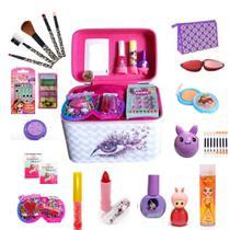 Maleta De Maquiagem Infantil Com Kit De  Pinceis E Paleta De Sombra +  Nécessaire  Completo - Maleta Infantil