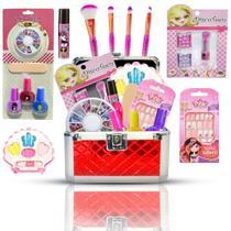 Maleta De Maquiagem Infantil + Pinceis Sereia E Unhas Bz100 - Bazar Web