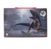 Maleta escolar com 86 pecas estampa dinossauro - Eu Quero Presentear