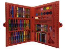Maleta Escolar Estojo Pintura Infantil 86 Pçs Canetinha Giz -