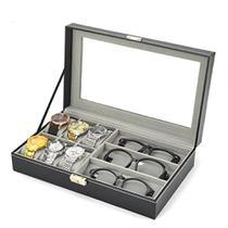 Maleta estojo porta 6 relogios e 3 oculos caixa organizadora relogio e oculos em madeira e couro - Makeda
