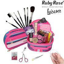 Maleta Frasqueira com Maquiagens Ruby Rose Luisance Kit Pincéis - Bazarnaweb