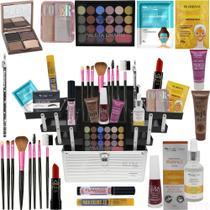 Maleta + Kit Maquiagem Completa Kit Pinceis Base Ruby Rose - Glow Pink