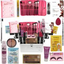 Maleta Kit Maquiagem Kit Pincel Macrilan Ruby Rose e Marcas - Glow Pink
