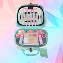 Maleta Mala com Kit Completo de Maquiagem Fenzza Pin Up Lettre Collection Verde -