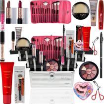Maleta Maquiagem Completa Ruby Rose Kit Macrilan Pinceis Pó - Glow Pink