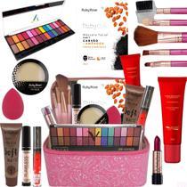 Maleta Maquiagem Top Profissional Tudo Ruby Rose Kit Pinceis -