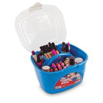 Maleta para maquiagem, bijuterias, ferramentas e acessórios com bandeja removivel lady box azul - Arqplast