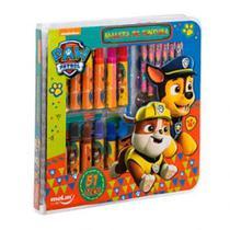 Maleta Square Para Colorir Pintura Escolar  Paw Patrol Patrulha Canina 51 Peças - Molin
