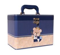Maleta Urso Escudo - 4 álbuns fotográficos - 240 fotos 15x21- Bebê Coroa Azul - Dk