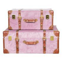 Maleta Vintage Decorativa Cor Rosa Grande Pequena - Lu