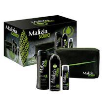 Malizia Masculino Kit - Desodorante + Espuma de Barbear + Sabonete Líquido + Nécessaire -