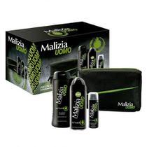 Malizia Uomo Kit Coffret c/ Desodorante, Espuma de Barbear, Sabonete Líquido e Nécessaire -