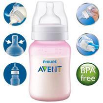 Mamadeira Anticolica Medidor Externo Bebê 260ml +1 Mes Philips Avent Rosa -