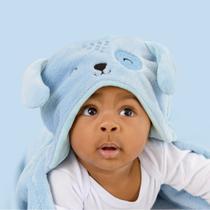 Mami Bichuus Cobertor Manta De Microfibra Com Capuz Bebê - Azul - Papi