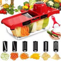 Mandoline Slicer Nicer Fatiador Cortador Legumes 6 Em 1 Lâminas Inox - Penselar Fun