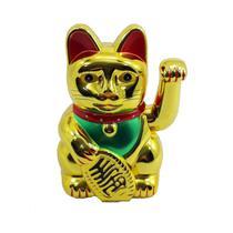 Maneki Neko Gato da Sorte Dourado Japonês 15 cm Pilha - Oksn
