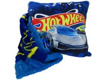 Manta Almofada Juvenil Jolitex Microfibra Mattel - Hot Wheels Azul