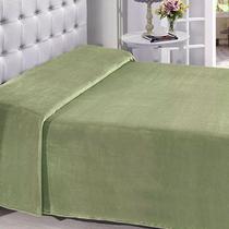 Manta Buettner Solteiro Microfibra Verde Lisa Extra Brilho Flannel Fleece -