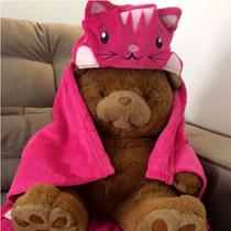 Manta Capuz Bouton Infantil Microfibra Tigresa Antialérgico Pink -