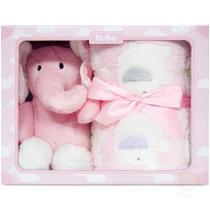 Manta com Pelúcia Gift Elefante Rosa Buba -