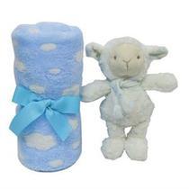 Manta com Pelúcia Gift Ovelhinha Azul Buba -