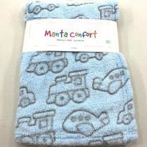 Manta de Bebê Antialérgica Microfibra 75cm x 100cm Confort Azul Carros - Rozac