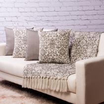 Manta Decorativa para sofá 3 x 1,4m e 4 capas de almofada - medalhao_vsk114 - Quadroid Mantas
