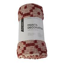 Manta Decorativa Vermelha e Bege 125x150cm - A/CASA - A\CASA
