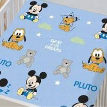 Manta Disney Mickey e Pluto/ Mickey Trenzinho- Jolitex-Azul -