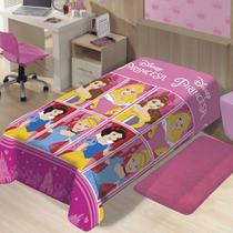 Manta Jolitex Solteiro Soft Microfibra Disney Princesas Castelo -