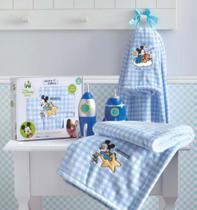 Manta Microfibra Bordada Disney Baby Mickey Azul Jolitex - Minas Rey