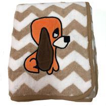 Manta para bebê de Microfibra Buettner com Bordado Bege Cachorro Sly Dog -