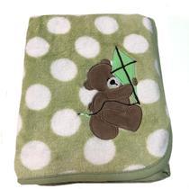 Manta para bebê de Microfibra Buettner com Bordado Urso Verde -