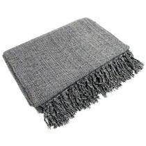 Manta Para Sofá Em Algodão Cinza Mesclado 2,40 X 1,80 - brianoredes