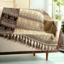 Manta para sofá indiano bege marrom dupla face 1,80 x 1,40 - Tmdecor