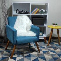 Manta Pelucia Pelo Alto Luxo Branco Decoração Newborn Sofá 80x50cm - Novadecora
