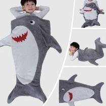 Manta Saco de Dormir Bouton Infantil Tubarão 140X50 cm -