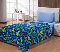 Manta soft solteiro estampada - dinossauro azul - Vivart