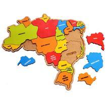Mapa do brasil quebra cabeça madeira 26 estados grande - BRINQUE E LEIA