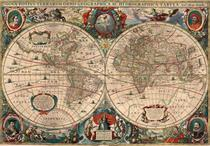 Mapa Mundi Antigo 1641 - Mapas - 30x43 - Tela Canvas Para Quadro - Santhatela