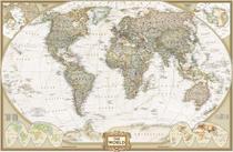 Mapa Mundi Vintage - 2007 - Tela 60x92 Para Quadro - Santhatela