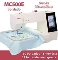 Maquina de Bordar Janome Modelo Mc 500E Aréa de Trabalho 20x28 cm -