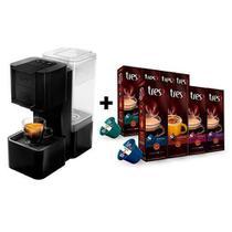 Máquina de café expresso Três corações Pop - 220V - Preta + 8 pacotes de cápsulas -