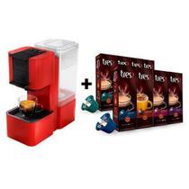 Máquina de café expresso Três corações Pop - 220V - Vermelha + 8 pacotes de cápsulas -